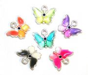 Enameled alloy two-tone baby  butterfly charms / pendants